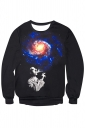 Womens Imaginary Galaxy Printed Long Sleeve Pullover Sweatshirt Blue