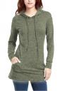 Womens Long Sleeve Pocket Plain Drawstring Hoodie Army Green