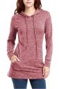 Womens Long Sleeve Pocket Plain Drawstring Hoodie Dark Red