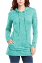 Womens Long Sleeve Pocket Plain Drawstring Hoodie Light Blue
