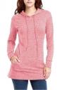 Womens Long Sleeve Pocket Plain Drawstring Hoodie Pink