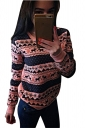 Womens Crewneck Reindeer Printed Long Sleeve Christmas Sweatshirt Pink