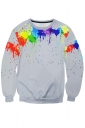 Womens Color Block Paint Printed Long Sleeve Pullover Sweatshirt Gray