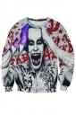 Womens Crazy Man Printed Long Sleeve Pullover Sweatshirt Gray