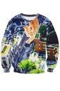 Womens Funny Cat Printed Long Sleeve Pullover Sweatshirt Brown