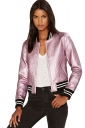 Womens Faux Leather Striped Zip Up Long Sleeve Bomber Jacket Pink