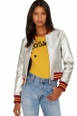 Womens Faux Leather Striped Zip Up Long Sleeve Bomber Jacket Silvery