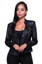 Womens Turndown Collar Zip-up Long Sleeve Plain Short Jacket Black