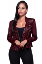 Womens Turndown Collar Zip-up Long Sleeve Plain Short Jacket Ruby