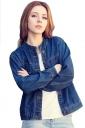 Womens Single-breasted Pocket Long Sleeve Denim Short Jacket Blue
