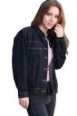Womens Single-breasted Pocket Long Sleeve Denim Short Jacket Black