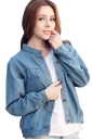 Womens Single-breasted Pocket Long Sleeve Denim Jacket Light Blue