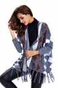 Womens Fringed Geometric Patterned Long Sleeve Cardigan Sweater Gray