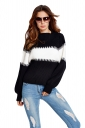 Womens Color Block Puff Long Sleeve Pullover Sweater Black