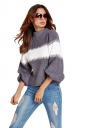 Womens Color Block Puff Long Sleeve Pullover Sweater Gray
