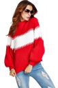 Womens Color Block Puff Long Sleeve Pullover Sweater Red
