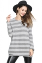 Womens Crewneck Striped Patterned Long Sleeve Sweater Light Gray
