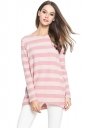 Womens Crewneck Striped Patterned Long Sleeve Pullover Sweater Pink
