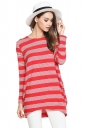 Womens Crewneck Striped Patterned Long Sleeve Pullover Sweater Red