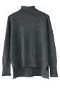 Womens Mock Neck High-low Long Sleeve Plain Pullover Sweater Black
