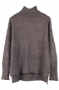 Womens Mock Neck High-low Long Sleeve Plain Pullover Sweater Coffee