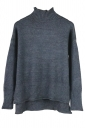 Womens Mock Neck High-low Long Sleeve Plain Pullover Sweater Dark Gray