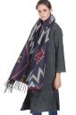Womens Tassel Exotic Geometric Patterned Shawl Scarf Blue