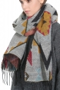 Womens Tassel Exotic Geometric Patterned Shawl Scarf Beige White
