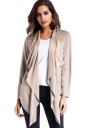 Womens Asymmetric Micro?Suede?Long Sleeve Plain Trench Coat Apricot