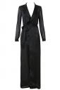 Womens Turndown Collar Long Sleeve Plain Maxi Trench Coat Black