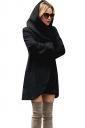 Womens Hooded Pocket Long Sleeve Cardigan Wool Coat Black