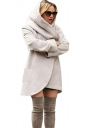 Womens Hooded Pocket Long Sleeve Cardigan Wool Coat Light Gray