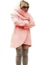 Womens Hooded Pocket Long Sleeve Cardigan Wool Coat Pink