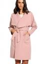 Womens Turndown Collar Long Sleeve Pockets Sash Plain Wool Coat Pink