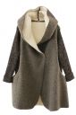 Womens Hooded Knitted Long Sleeve Loose Coat Gray