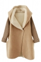 Womens Hooded Knitted Long Sleeve Loose Coat Khaki