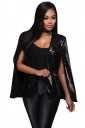 Womens Sequined Open Sleeve Cape Blazer Black