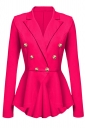 Womens Slimming Long Sleeve Buttons Peplum Blazer Rose Red