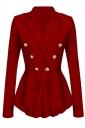 Womens Slimming Long Sleeve Buttons Peplum Blazer Red