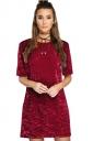 Womens Short Sleeve Crewneck Plain Shift Dress Ruby
