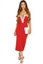 Womens Lace Trim Decor Spaghetti Straps Midi Dress Red
