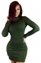 Womens Turtleneck Long Sleeve Bodycon Plain Sweater Dress Green