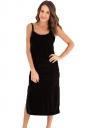 Womens Spaghetti Straps Backless Side Slit Midi Dress Black
