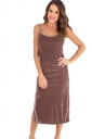 Womens Spaghetti Straps Backless Side Slit Midi Dress Brown