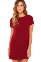 Womens Crewneck Zipper Back Short Sleeve Plain Shift Dress Red