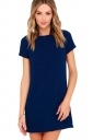 Womens Crewneck Zipper Back Short Sleeve Plain Shift Dress Navy Blue