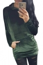 Womens Pleuche Pocket Long Sleeve Pullover Plain Hoodie Dark Green