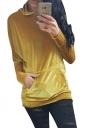 Womens Pleuche Pocket Long Sleeve Pullover Plain Hoodie Yellow