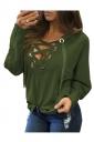 Womens Lace-up V Neck Long Sleeve Plain Hoodie Dark Green