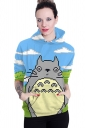 Womens Totoro Printed Long Sleeve Pocket Pullover Hoodie Blue